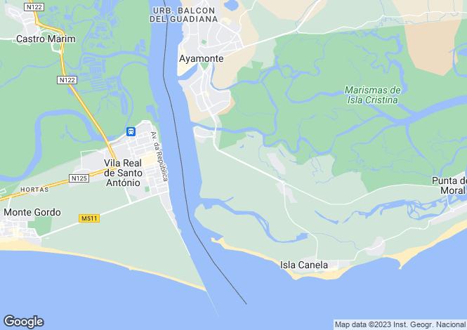 Map for Andalusia, Huelva, Isla Canela