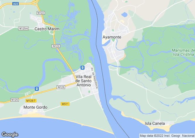 Map for Algarve, Vila Real de Santo António