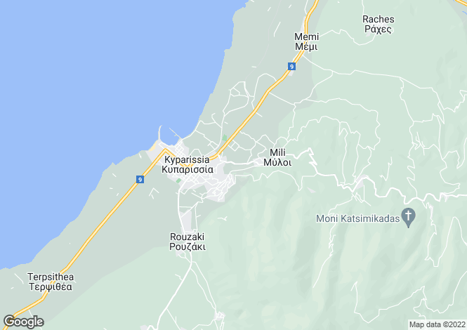 Map for Kyparissia, Messinia, Peloponnese