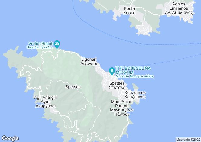 Map for Saronic Gulf, Spetses
