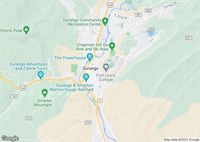 Map for Durango, La Plata County, Colorado
