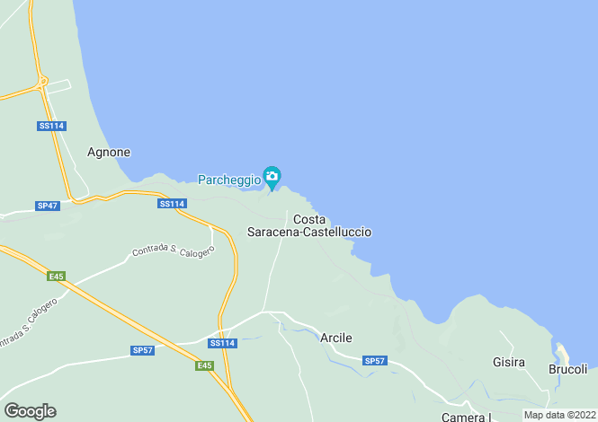 Map for Augusta, Syracuse, Sicily