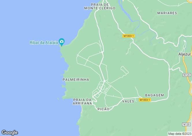 Map for Portugal - Algarve, Aljezur