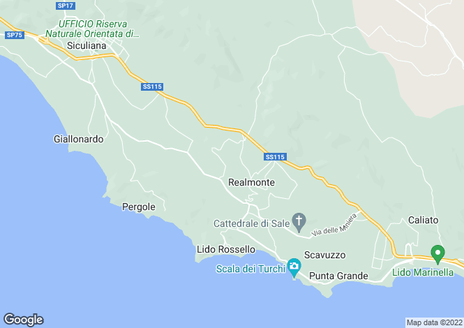 Map for Sicily, Agrigento, Realmonte