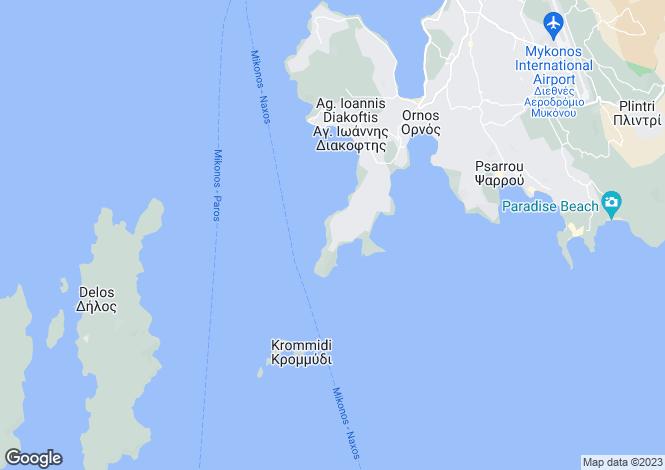 Map for Cyclades islands, Mykonos, Aleomandra
