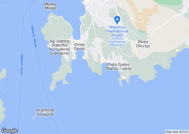 Map for Cyclades islands, Mykonos, Agios Lazaros