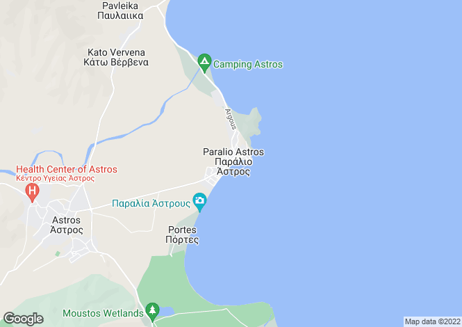 Map for Astros, Arcadia, Peloponnese