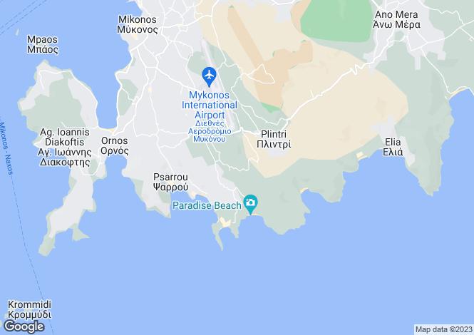 Map for Cyclades islands, Mykonos