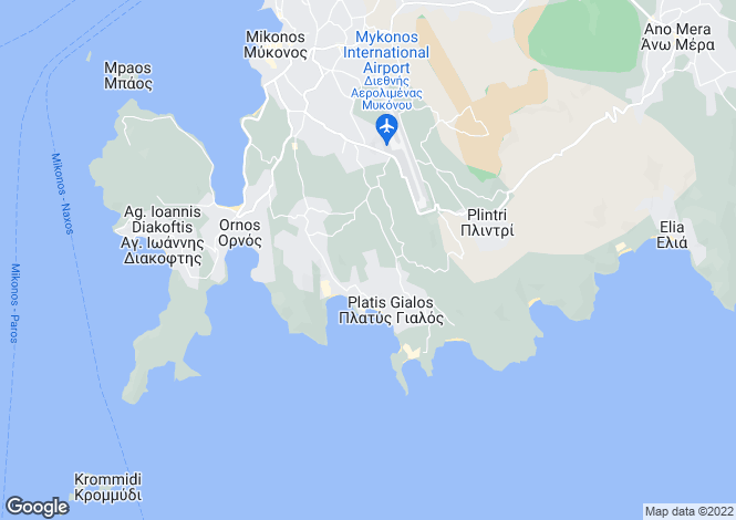 Map for Cyclades islands, Mykonos, Psarou