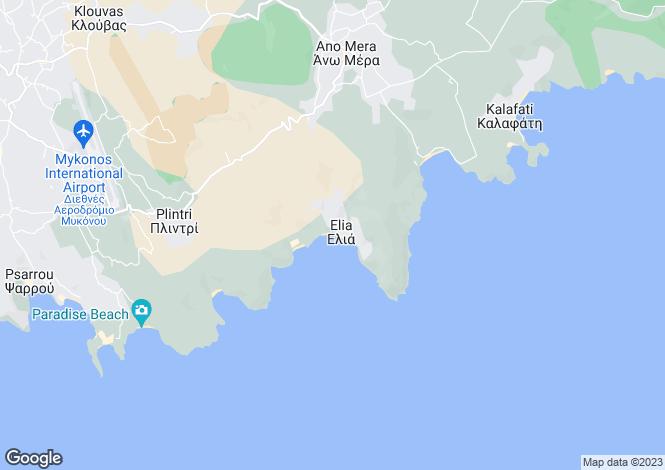 Map for Cyclades islands, Mykonos, Elia