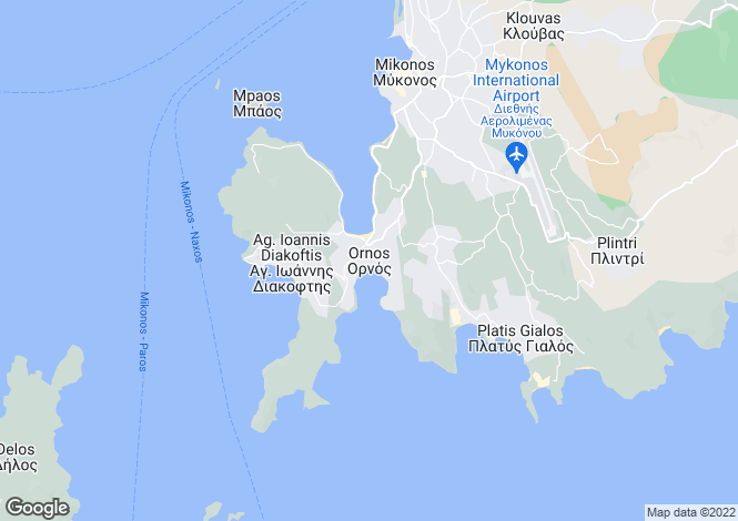 Map for Cyclades islands, Mykonos, Ornos