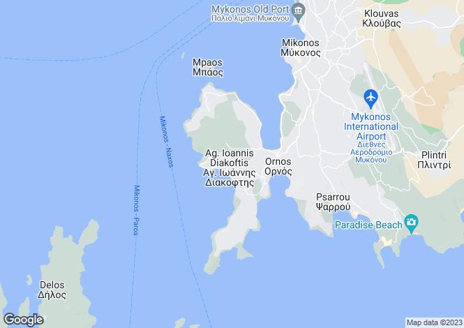Map for Ornos, Mykonos, Cyclades islands