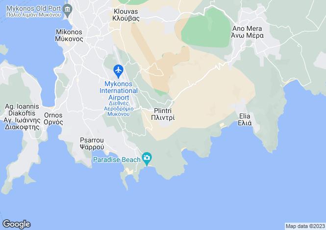 Map for Cyclades islands, Mykonos, Plintri
