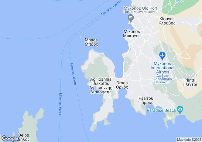 Map for Cyclades islands, Mykonos, Ornos