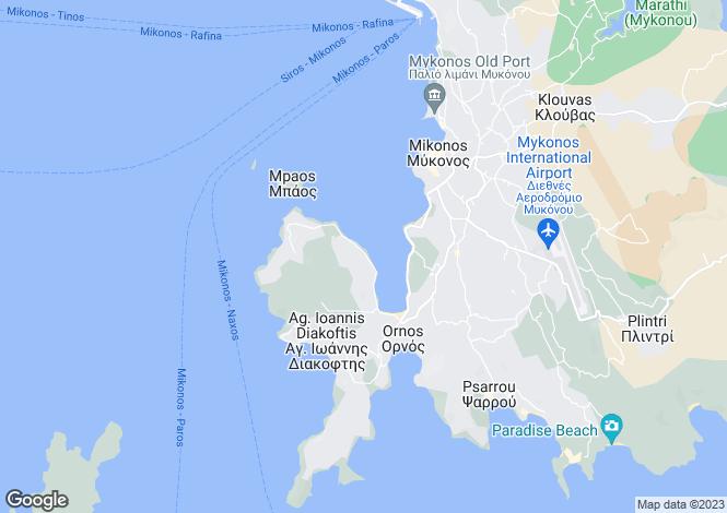 Map for Cyclades islands, Mykonos, Agios Ioannis