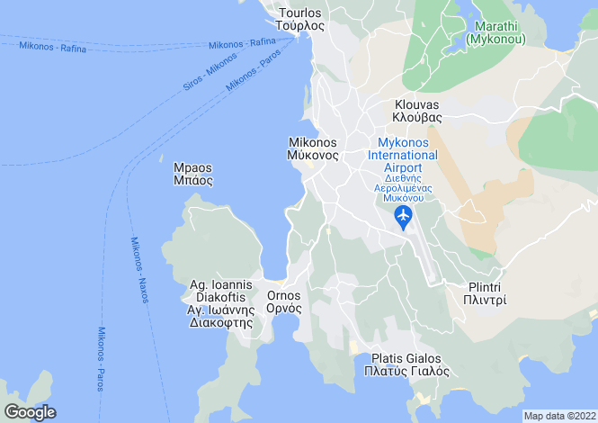 Map for Mikonos, Mykonos, Cyclades islands