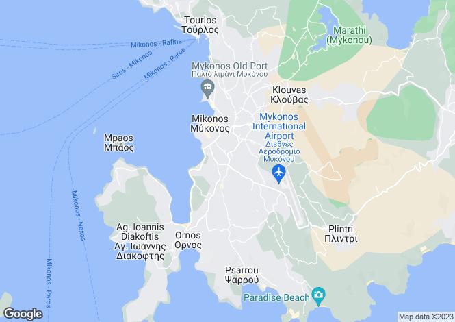 Map for Cyclades islands, Mykonos, Mikonos