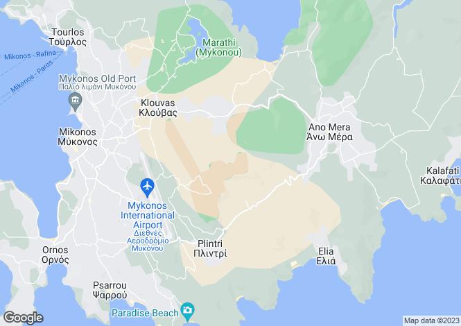 Map for Cyclades islands, Mykonos, Kounoupas