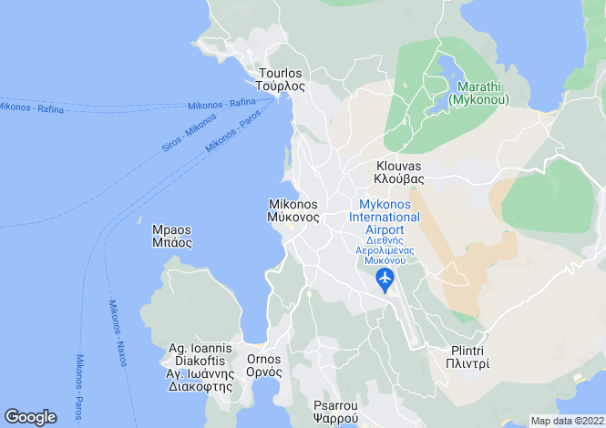 Map for Cyclades islands, Mykonos, Mikonos