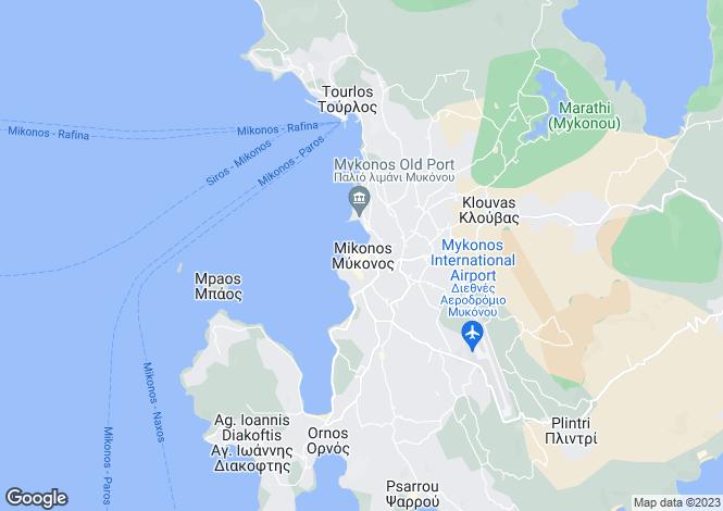 Map for Mykonos, Cyclades Islands, Greece