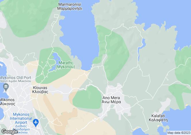 Map for Cyclades islands, Mykonos, Ftelia