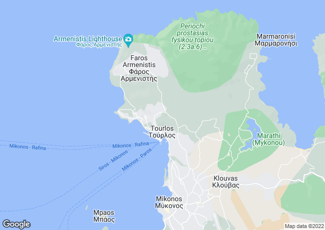 Map for Tourlos, Mykonos, Cyclades islands