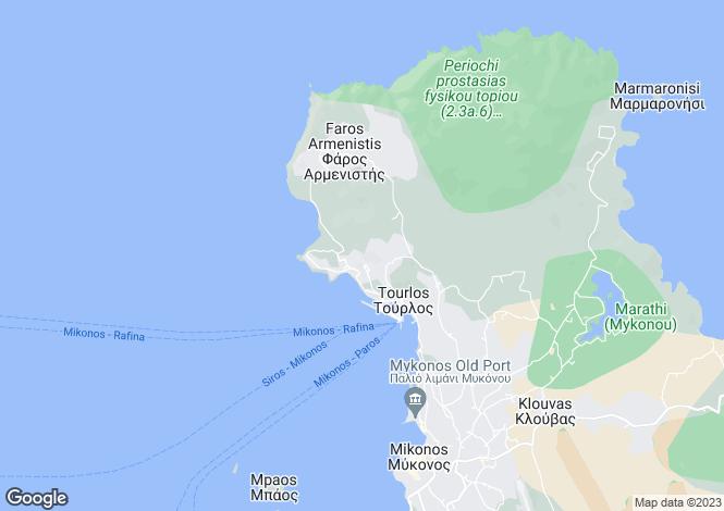 Map for Cyclades islands, Kythnos, Agios Stefanos