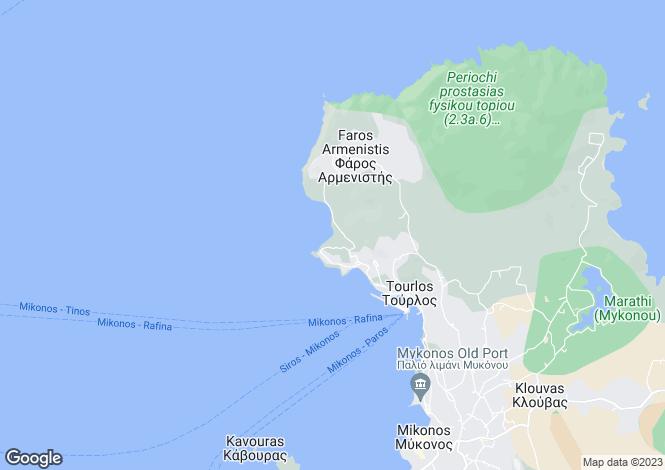 Map for Cyclades islands, Mykonos, Agios Stefanos