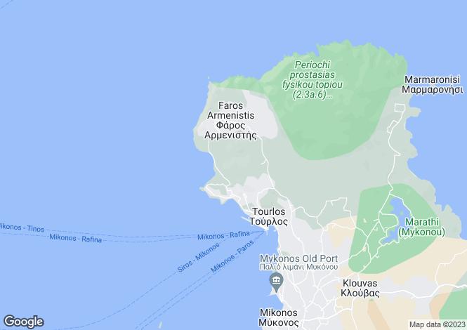 Map for Cyclades islands, Mykonos, Faros Armenistis