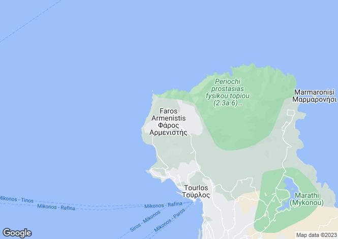 Map for Cyclades islands, Mykonos, Fanari