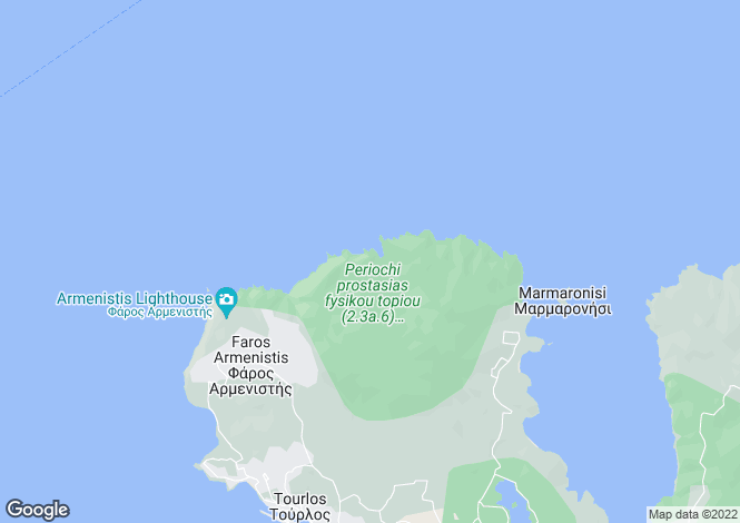 Map for Cyclades islands, Kythnos, Agios Stefanos