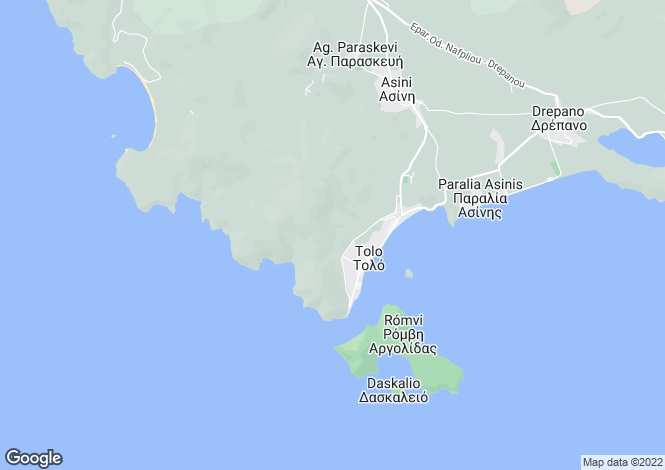 Map for Tolo, Argolis, Peloponnese