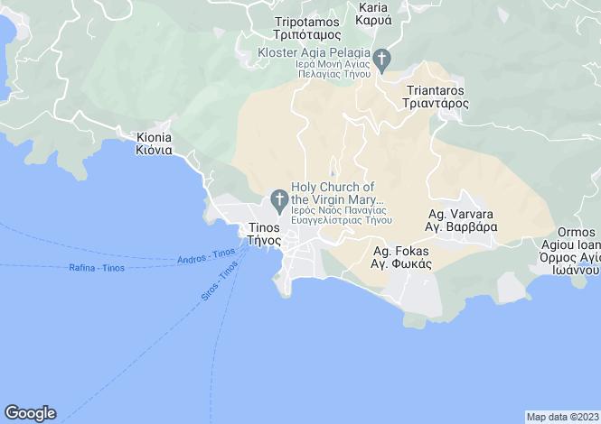 Map for Cyclades islands, Tinos, Triantaros