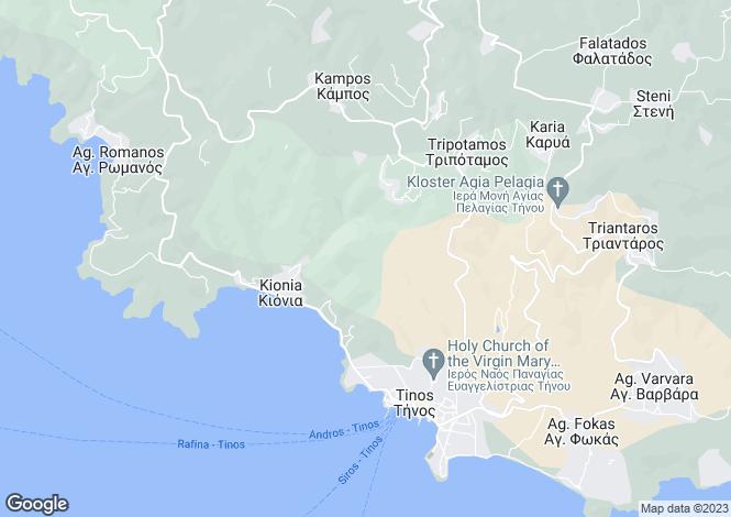 Map for Cyclades islands, Tinos, Agios Romanos