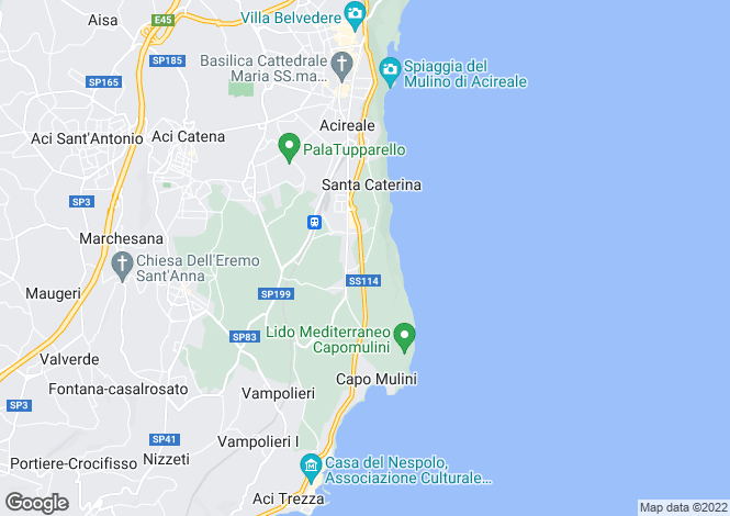 Map for Acireale, Catania, Sicily