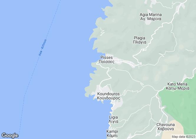 Map for Cyclades islands, Tzia, Koundouros