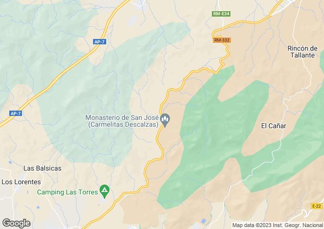 Map for Valdelentiscos, Murcia, Spain