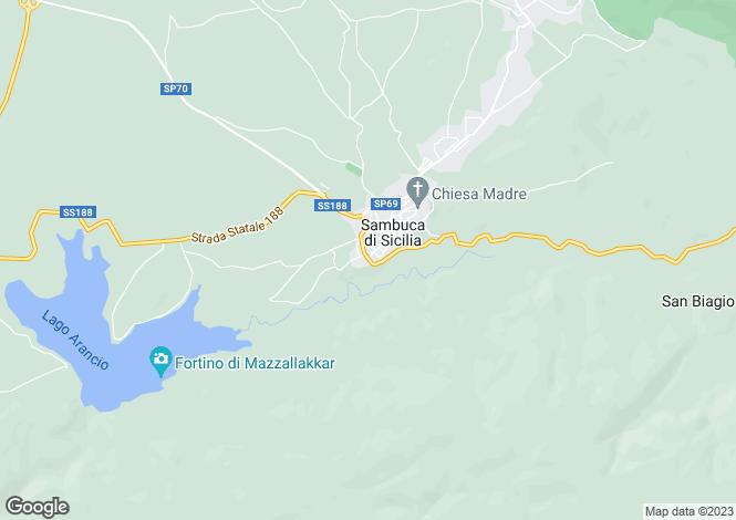 Map for Sicily, Agrigento, Sambuca di Sicilia