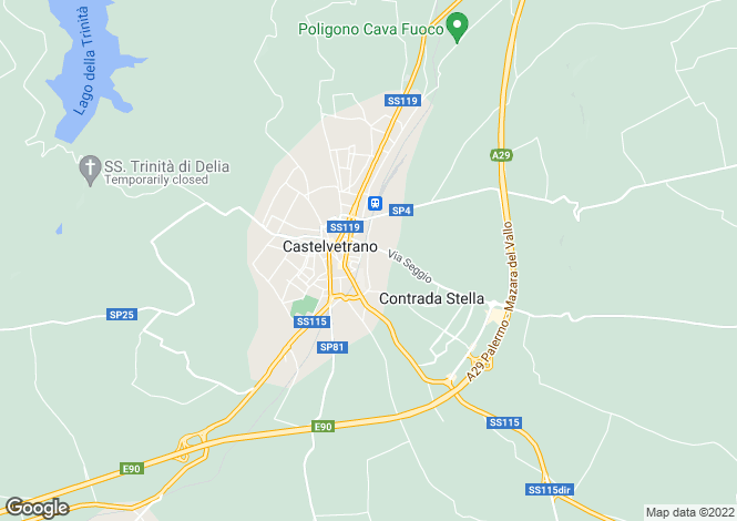 Map for Castelvetrano, Trapani, Sicily