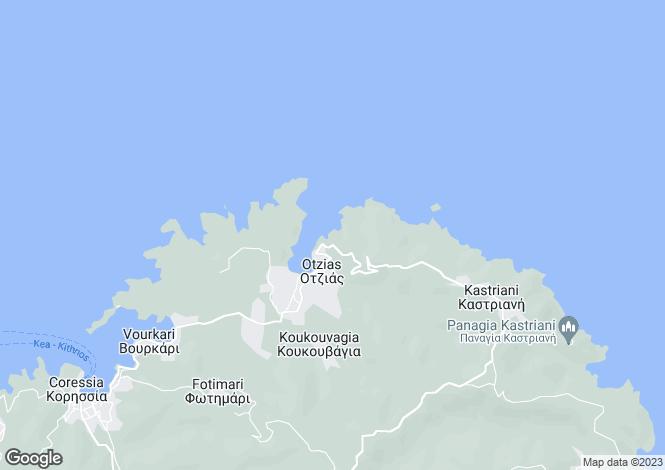 Map for Cyclades islands, Tzia, Otzias
