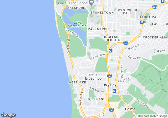Map for USA - California, San Mateo County, Daly City