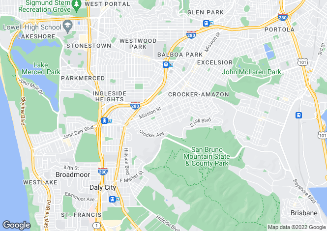 Map for California, San Mateo County, Daly City