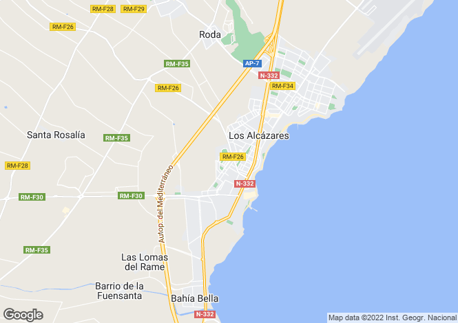 Map for Los Alcazares, Murcia, Spain