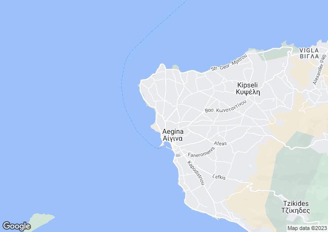 Map for Aegina, Saronic Islands, Greece