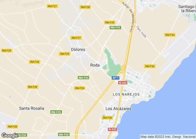 Map for Roda, Murcia, Spain