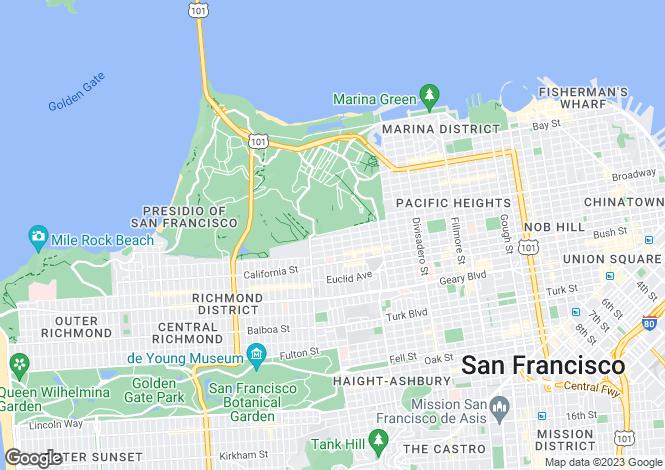 Map for 34 Maple Street, San Francisco, California