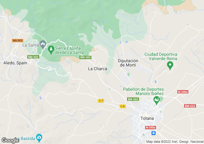 Map for Totana, Murcia