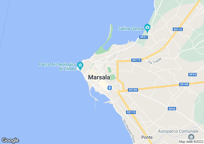 Map for Sicily, Trapani, Marsala