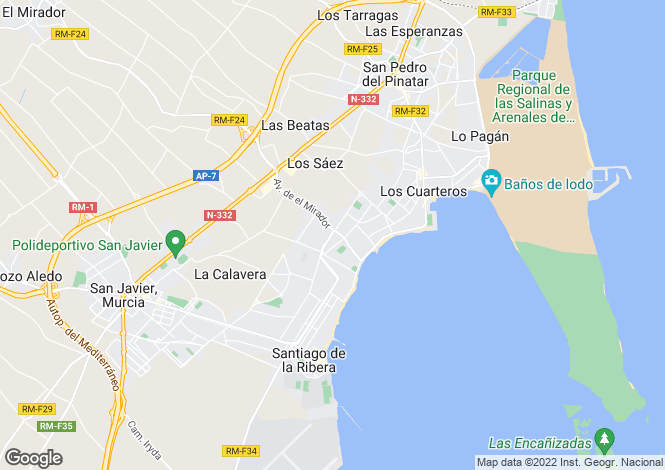 Map for San Javier, Murcia, Spain