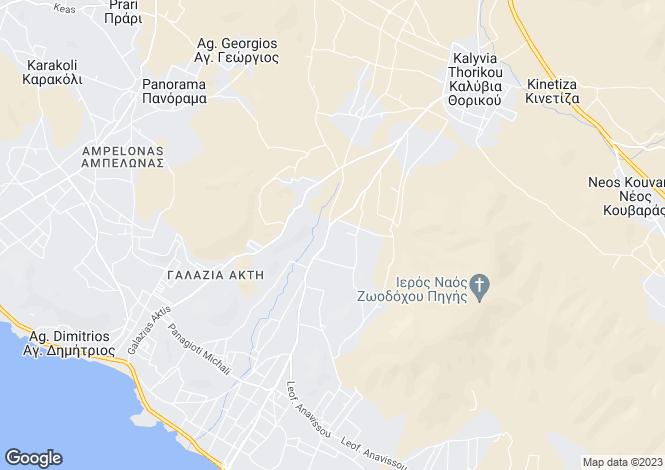 Map for Attica, Kalyvia